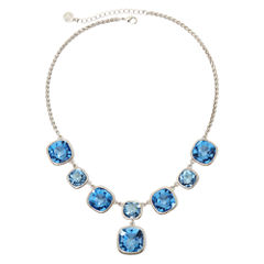 Monet® Silver-Tone Blue Glass Stone Y Necklace