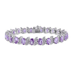 Genuine Purple Amethyst and Diamond-Accent Sterling Silver Bracelet