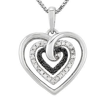 14 Ct Tw White Amp Color enhanced Black Diamond Sterling Silver Heart Pendant