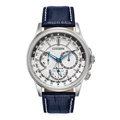 Citizen® Eco-Drive® Calendrier Mens Blue Leather Strap Watch BU2020-02A