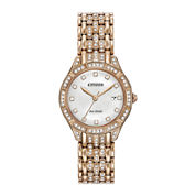 Citizen® Eco-Drive Silhouette Womens Crystal-Accent Rose-Tone Stainless Steel Bracelet Watch EW2323-57A