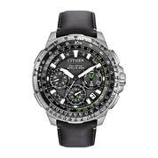Citizen® Eco-Drive Promaster Navihawk Mens World Time GPS Black Leather Strap Watch CC9030-00E