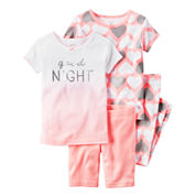 Carter's Girls 4-pc. Short Sleeve Pant Pajama Set