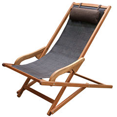 Outdoor Interiors Sling and Eucalyptus Swing Lounger with Pillow
