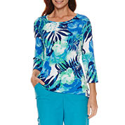 Alfred Dunner Tropical Vibe Short Sleeve Crew Neck T-Shirt