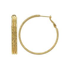 Gold Reflection Gold Over Brass Hoop Earrings