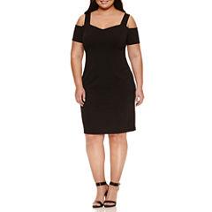 Bisou Bisou Short Sleeve Cold Shoulder Knit Sheath Dress-Plus