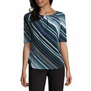 Liz Claiborne Elbow Sleeve Crew Neck T-Shirt-Talls
