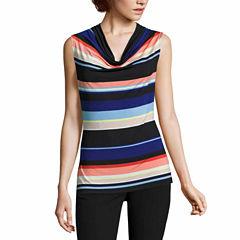 Worthington Sleeveless Draped Neck Pullover Sweater-Talls