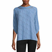 Worthington 3/4 Sleeve Mock Neck Woven Blouse-Talls