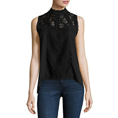 Self Esteem Short Sleeve Mock Neck Woven Blouse-Juniors