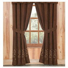 Browning Buckmark Suede Lined Rod Pocket Lined Drapes W/Tiebacks