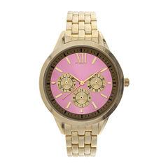 Womens Pink Dial Gold-Tone Bracelet Watch