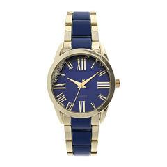 Womens Blue Dial Silver-Tone Bracelet Watch