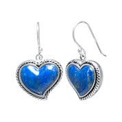 Dyed Lapis Sterling Silver Heart Drop Earrings