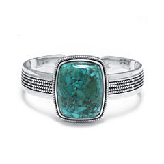 Enhanced Turquoise Sterling Silver Rectangular Cuff Bracelet