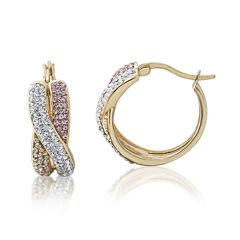Multicolor Crystal 14K Gold Over Silver Crisscross Hoop Earrings