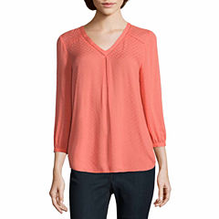 St. John's Bay 3/4 Sleeve Solid Peasant Top Talls