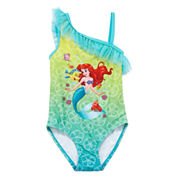 Disney Girls Disney Princess Solid One Piece Swimsuit-Big Kid