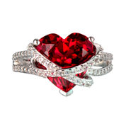 Lab-Created Ruby and White Sapphire Heart Shaped Crisscross Ring