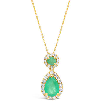 Womens 16 Ct Tw Genuine Green Emerald 10k Gold Pear Pendant Necklace