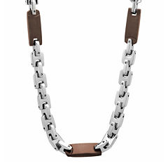 "Mens Two-Tone Stainless Steel 24"" Chain Station Necklace"