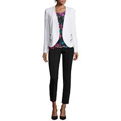 nicole by Nicole Miller® Zip-Pocket Jacket, Print Blouse or Pintuck Ankle Pants