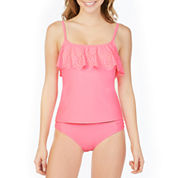 Arizona Lasercut Flounce Swimsuit Top or Hipster Bottom-Juniors