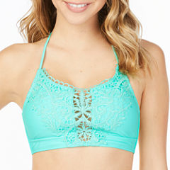 Arizona Crochet Front Midneck Swimsuit Top-Juniors