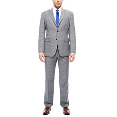 Stafford Travel Stretch Gray Blue Plaid Suit Separates- Classic Fit