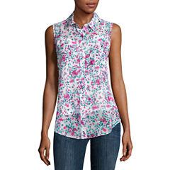 Liz Claiborne® Sleeveless Woven Button-Front Shirt