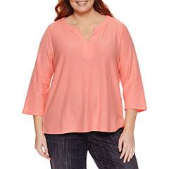 Liz Claiborne 3/4 Sleeve Boat Neck T-Shirt-Womens Plus