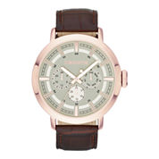 Claiborne® Mens Rose-Tone Leather Strap Multifunction Watch