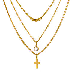 Mixit™ Crystal-Accent 3-Row Cross and Bead Necklace