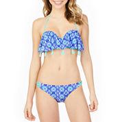 Arizona Medallion Flounce Swimsuit Top or Hipster Bottom-Juniors