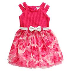 Young Land Short Sleeve Split Sleeve Skater Dress - Preschool Girls