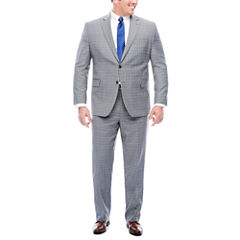Stafford Travel Stretch Gray Bue Plaid Suit Separates- Big and Tall