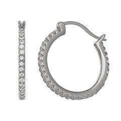 Silver Treasures White Diamond Accent Sterling Silver Hoop Earrings