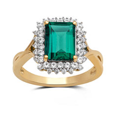 Womens Green Emerald Gold Over Silver Cocktail Ring