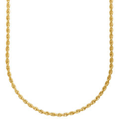 14K Yellow Gold 1.8mm Hollow Rope Chain Necklace