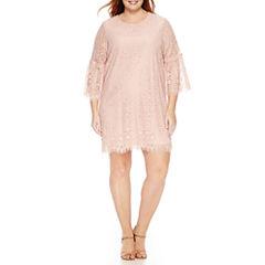 Worthingto®n 3/4 Bell Sleeve Lace Sheath Dress - Plus