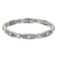Liz Claiborne® Marcasite and Crystal Silver-Tone Stretch Bracelet