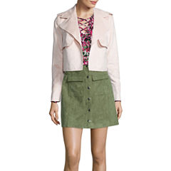 I 'Heart' Ronson Lace-Up Blouse, Faux-Suede Military Jacket or Faux-Suede Military Skirt