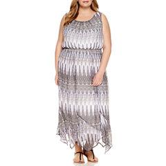 Alyx Sleeveless Handkerchief Hem Maxi Dress-Plus