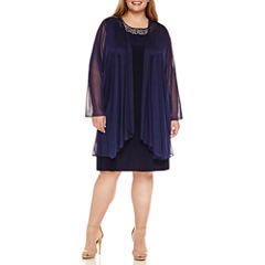Blu Sage Long Sleeve Embellished Jacket Dress-Plus