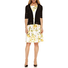Liz Claiborne Elbow Sleeve Shrug with Sleeveless Floral Fit & Flare