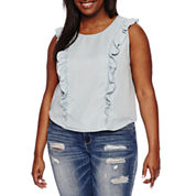 Arizona Denim Ruffle Top- Juniors Plus