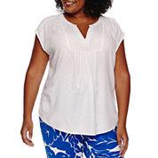 Liz Claiborne Short Sleeve Peasant Top