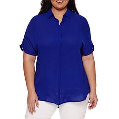 Worthington® Short-Sleeve Button-Front Blouse
