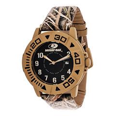 Mossy Oak® Mens Beige Bezel Camouflage Leather Strap Sport Watch